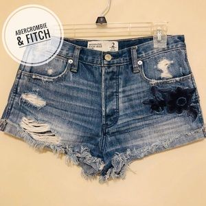 A&F High Rise Distressed/Embroidered Denim Shorts
